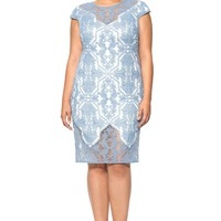 Blue Stone Cotton Embroidered Tulle Cap Sleeve Dress - PLUS SIZE