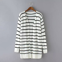 Stripe Long-Sleeve Cardigan