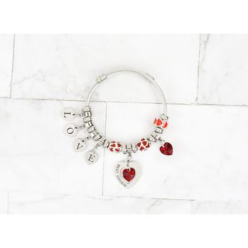Kid's Love Heart Charmed Bracelet Made With Precision Cut Crystals By Pink Box
