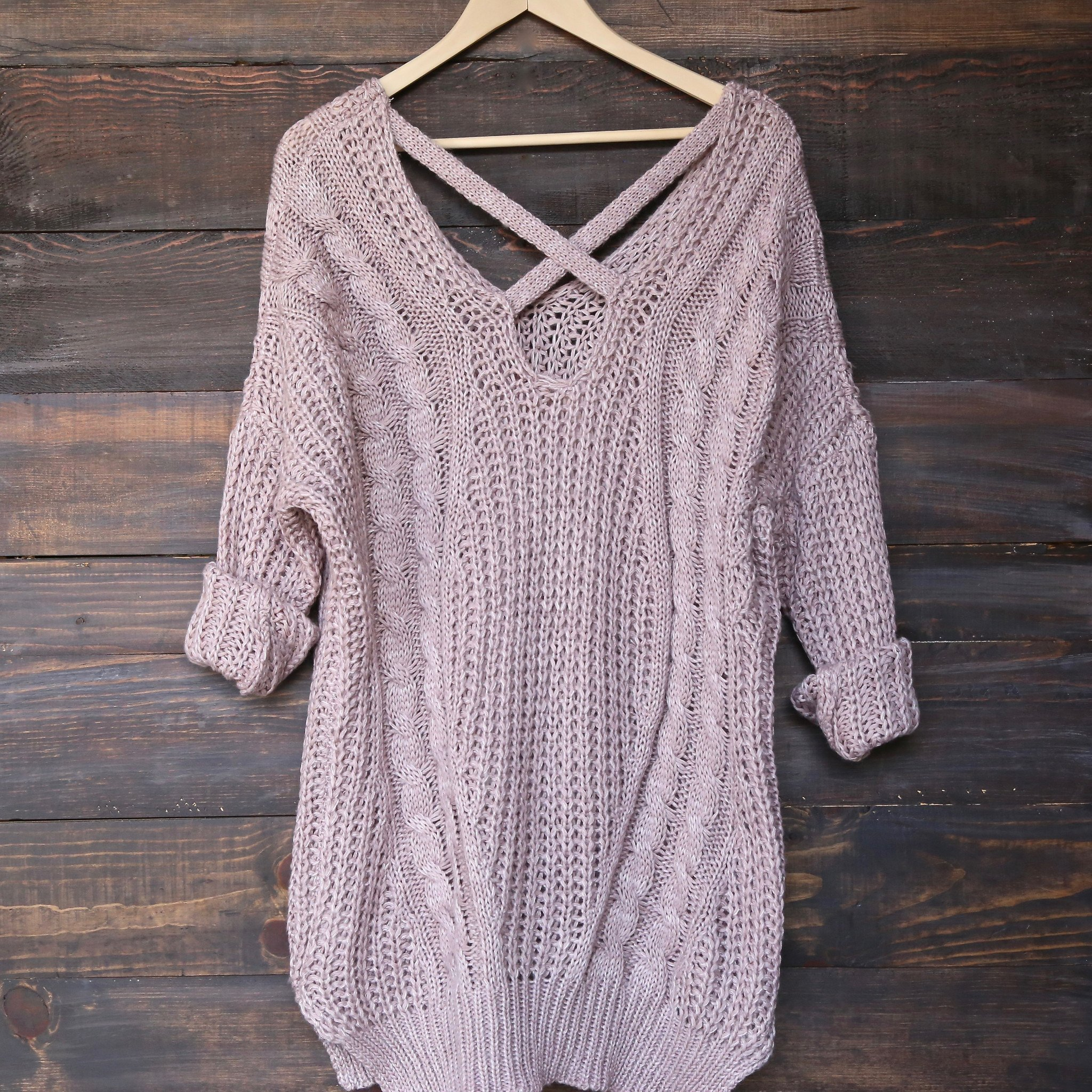 Image of Oversized Cross Back Knit Sweater in More Colors