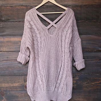 Oversized Cross Back Knit Sweater in More Colors