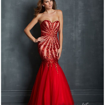 Night Moves by Allure 2014 Prom Dresses - Red Tulle Sunburst Mermaid Prom Gown