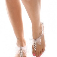 CLEAR GLITTER JELLY BOW CHAIN DESIGN SANDALS