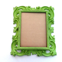 Green Picture Frame - Light Green Painted Frame - 5x7 Picture Frame - Whimsical Wall Frame - Baroque Photo Frame - Rococo Hanging Frame