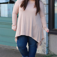 Shark Bite Top in Tan {Curvy}