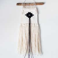 Small Black and White Woven Wall Hanging