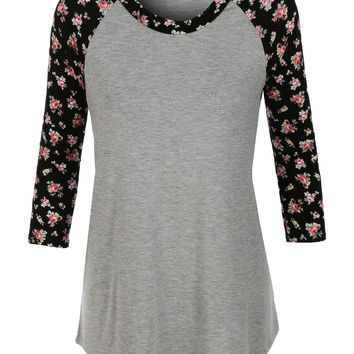 LE3NO Womens Lightweight Round Neck Floral Raglan T Shirt (CLEARANCE)