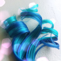 the M E R M A I D ... mermaid electric Blue and Teal human hair clip in extension 12in