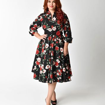 Unique Vintage Plus Size 1940s Style Black Floral Half Sleeved Hudson Shirt Dress