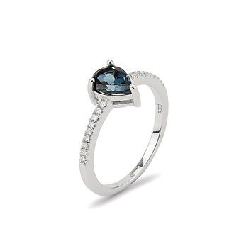 Blue Pear Shaped CZ Stone Sterling Silver 925 Ring