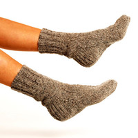 "WOMAN WOOL SOCKS ""Touring back roads"".  Hand knitted from natural grey sheep wool yarn. Great for hiking"