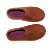 Wool Felted Slippers Brown Purple  - Womens House Shoes  - 100% wool traditional Felting - Womens Home Slippers  Earth Tone Felted Slippers