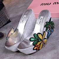 MIU MIU Women Fashion Casual Heels Shoes Sandals Shoes