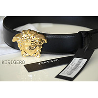 VERSACE GOLD BUCKLE HEAD MEDUSA BLACK BELT 3D SIZE 95/38 32-34