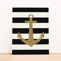 Gold Anchor with Black Stripes PRINTABLE ART Dorm Decor Apartment Art Office Art Nautical Art