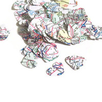 map heart confetti - travel theme wedding decorations by partyparts - upcycled maps- 200 pieces