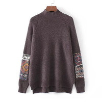 Coffee Mock Neck Patch Loose Knit Sweater