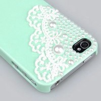 Cute Pearl Cute Lace Deco Ice Cream Case Cover for iPhone 4 4G 4S-Mint Green: Cell Phones & Accessories