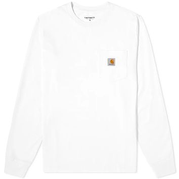 Long Sleeve Pocket Tee in White
