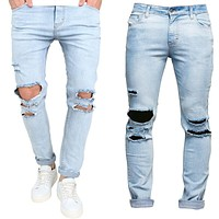 Mens Ripped Casual Jeans Skinny Jeans Stretch Denim Distress Fashion Destroy Jeans For Men Light Blue Hole Pants