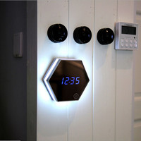Multifunction Mirror Glass Alarm Clock Night Lights Snooze Light-emitting Thermometer Digital Wall Clock Brightness USB cable