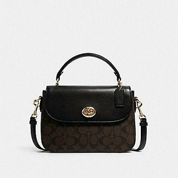 COACH Marlie Top Handle Satchel In Signature Canvas Brown / Black New$350