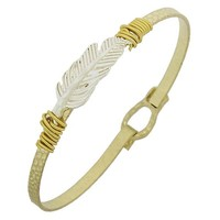 Gold and Silver Feather Bangle