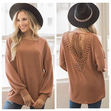 Just Warming Up! Stunning Crochet Lace Back Rust Sweater