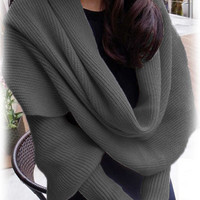 Grey  Knitted Scarf with Sleeves