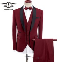 3 Piece Wedding Suits For Men Burgundy Khaki Blue Gray Army Green Purple Suit Slim Fit Shawl Collar Prom Suits