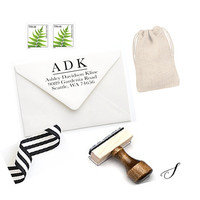 Custom Address Stamp - Personalized Gift for Her - Wood & Self-Inking Stamp for Stationery, Invitations, Notes - Christmas Gift Women (S102)