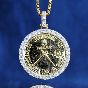 Custom Presidential Date Time Watch Logo Face Pendant Chain