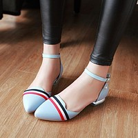 Pointed Toe Ankle Straps Striped Flats Shoes Covered Heel 1362