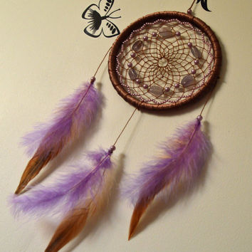 Brown & Purple Dream catcher with Amethyst, Violet Dreamcatcher, Bedroom Decor, wall hanging, Lilac dream Catcher