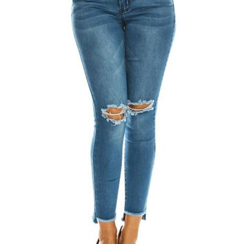 Women's High Rise Destroyed Knee and Hi-Low Frayed Hem Jeans