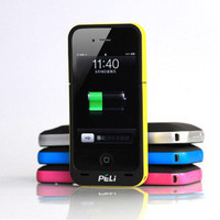 HOT! 1700mAh Rechargeable Peli Battery Case Charger for Apple iPhone 4 4S SILVER