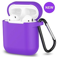 New AirPods Case, 360°Protective Silicone AirPods Accessories Kit Compatable with Apple AirPods 1st/2nd Charging Case [Not for Wireless Charging Case] - Purple