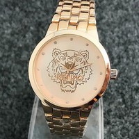 KENZO Noble Elegant Ladies Men Diamond Tiger Head Watch Couple Wrist Watch Rose Gold I-Fushida-8899
