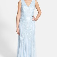 Women's Adrianna Papell Beaded Mesh V-Neck Trumpet Gown,