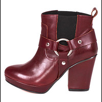 Punch Spanish Leather Belted Motorcycle Ankle Boots in Burgundy by To Be Announced   Edge of Urge