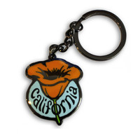 California Single Poppy Keychain