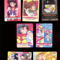Anime Sailor Moon Super S Vintage Made in Japan 1995 card lot 7 cards 1 sticker Collectible hard to find Free Shipping