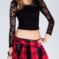 Full Tilt Womens Lace Overlay Crop Top Black  In Sizes