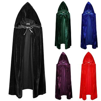 Medieval Hooded Velvet Cloak Gothic Cape Witch Wicca Vampire Halloween Costume Coat Cosplay 5 Colors