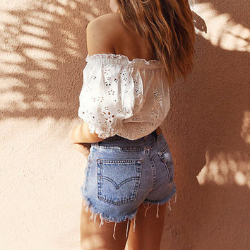 Levi's 501 High Waisted Vintage Denim Shorts - Frayed and Distressed