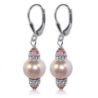 Sterling Silver 10mm Pink Imitation Pearl Crystal Earrings Made with Swarovski Elements