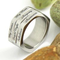 3 Line Spinner Ring, Compliment Generator, Mother Ring, Sister Ring, Daughter Ring, Mother Daughter Forever