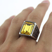 Men's Cool Silver 316L Stainless Steel Yellow Square Gemstone Casted Band Ring