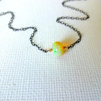 High Color Play Ethiopian Welo Opal Handmade Solitaire Pendant Necklace & 925 Sterling Silver Rose Gold Fill 14k Gold Chain; Unique Opal