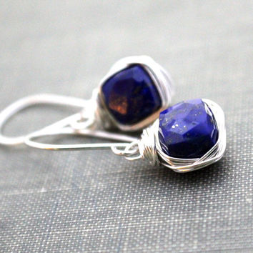Lapis Lazuli Bezel-Style Earrings
